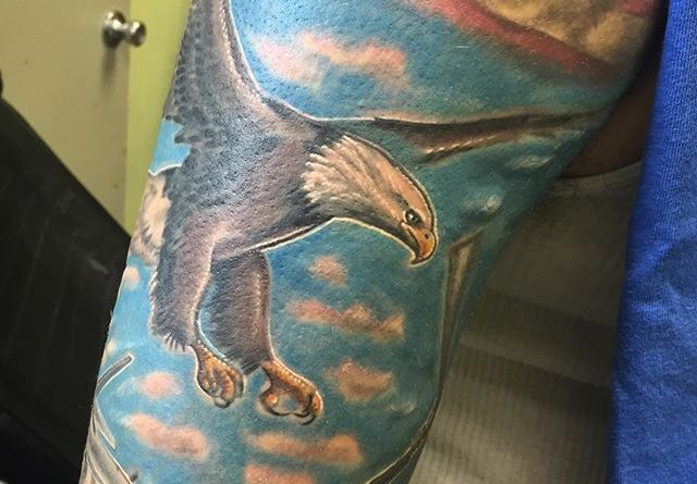 Colored American Eagle Sleeve Tattoo