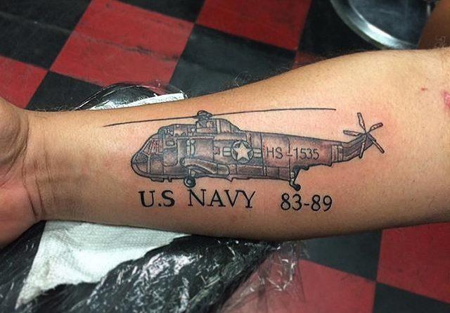 US Navy Helicopter Forearm Tattoo