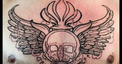 Veteran Skull Chest Tattoo