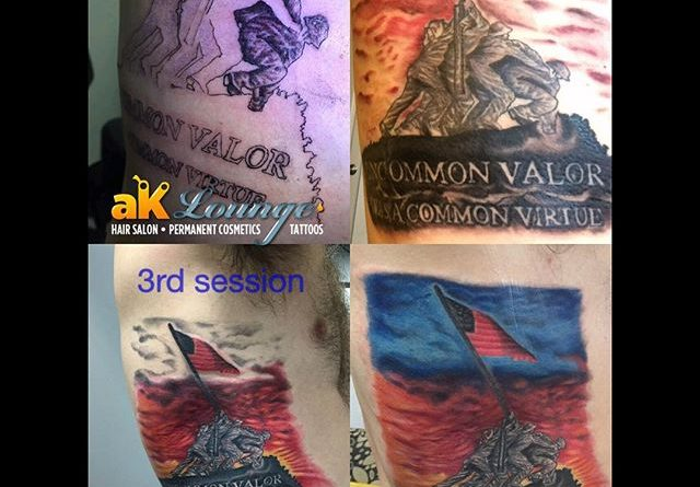 Veteran Tattoos Raising the Flag