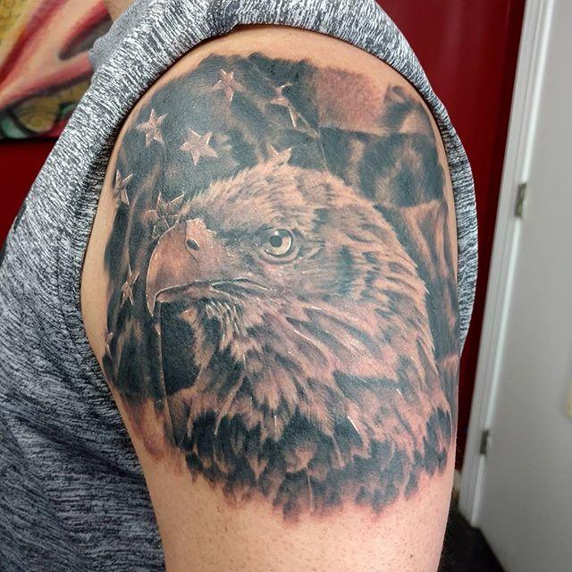 American Eagle Left Shoulder Tattoo | Veteran Ink