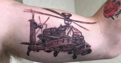 Apache Helicopter Bicep Tattoo