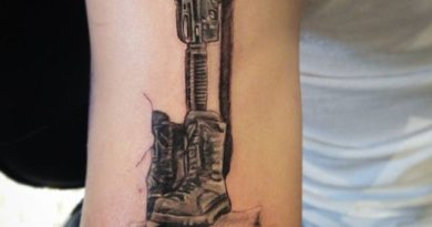 Black & White Fallen Soldier Tattoo