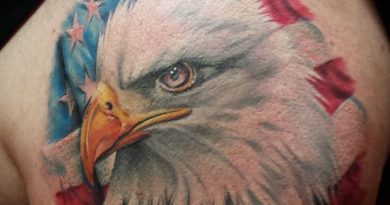 Colored American Eagle Shoulder Tattoo