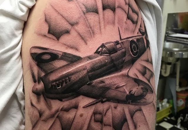 Spitfile Airplane Left Shoulder Tattoo