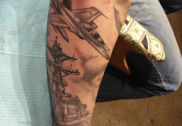 Black & White Navy Forearm Tattoo