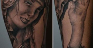 Pinup Bomber Girl Forearm Tattoo