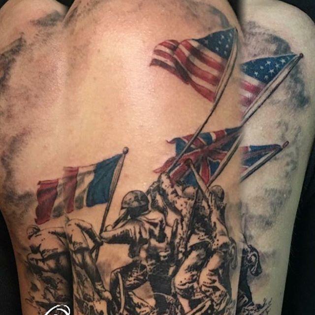 Raising the flag on iwo jima tattoo veteran ink for Iwo jima tattoo