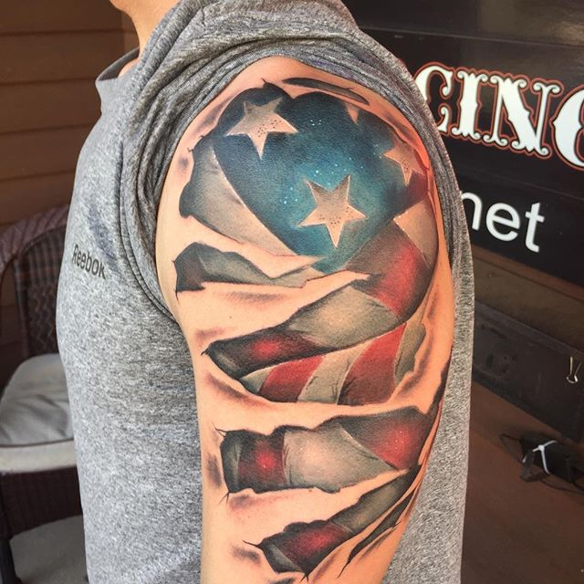 3d american flag shoulder tattoo veteran ink for American flag tattoos pictures
