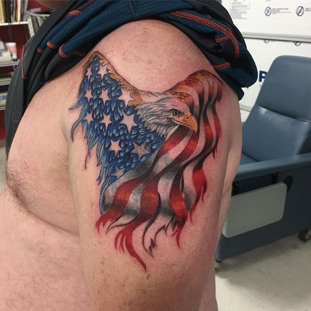 American Flag Eagle Tattoo Veteran Ink
