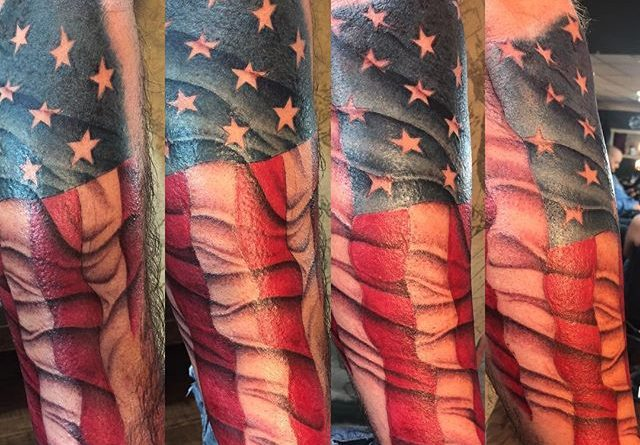 American Flag Forearm Tattoo