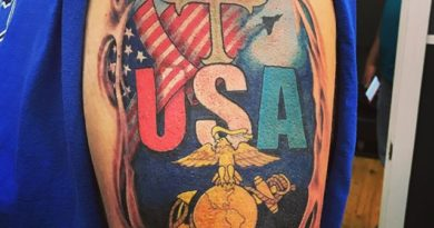 United States Marine Corp Shoulder Tattoo