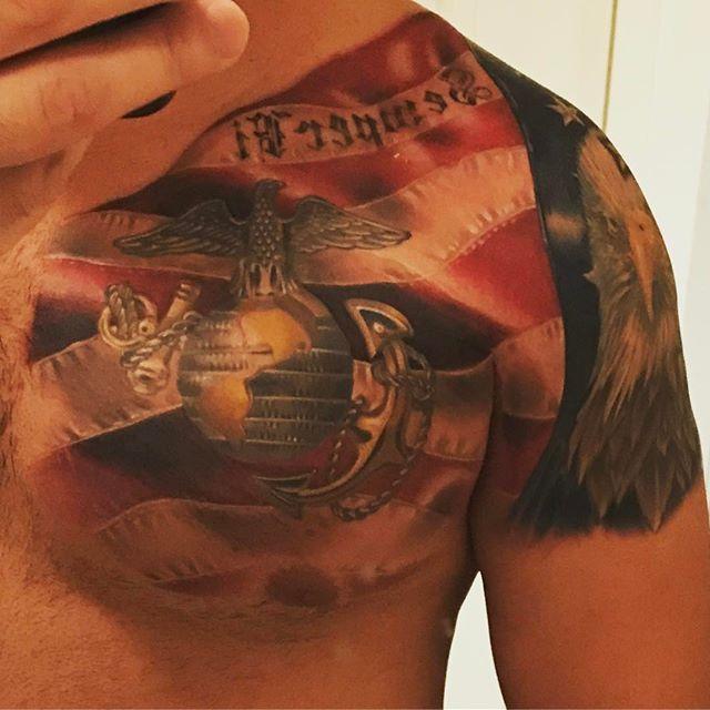 Left Shoulder Upper Chest Marine Vet 3D Tattoo