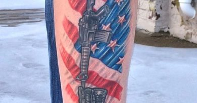 Colored Fallen Soldier Memorial Tattoo
