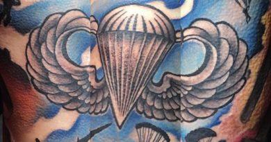 Paratrooper Full Back Tattoo