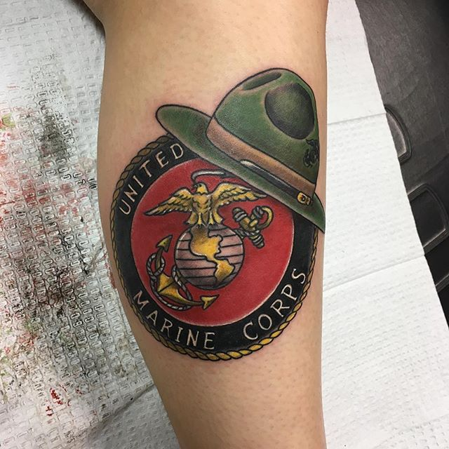 United states marine corps calf tattoo veteran ink for United states tattoo