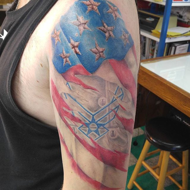US Airforce Left Shoulder Tattoo