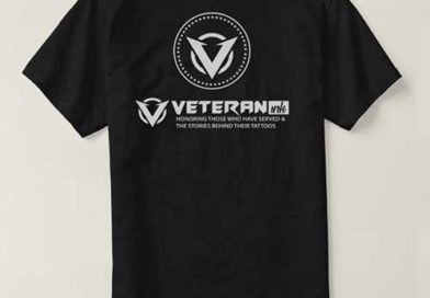 Veteran Ink Black tshirtback flat