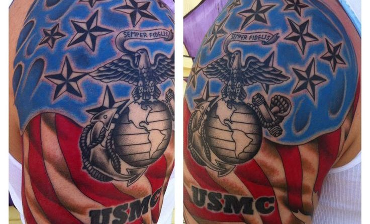 USMC Colored Shoulder Tattoo