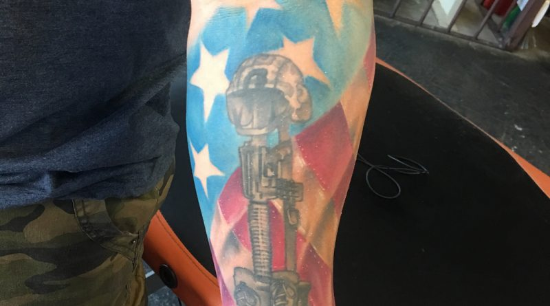 Colored Fallen Soldier Forearm Tattoo
