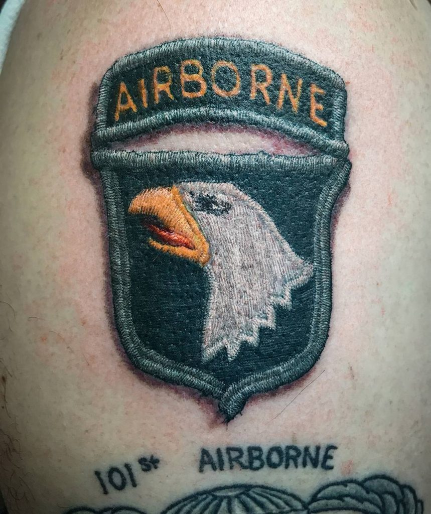 Realistic Airborne Shoulder Tattoo