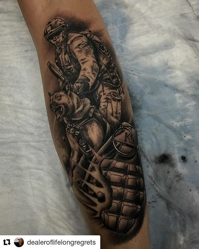 K-9 Army Guard Tattoo
