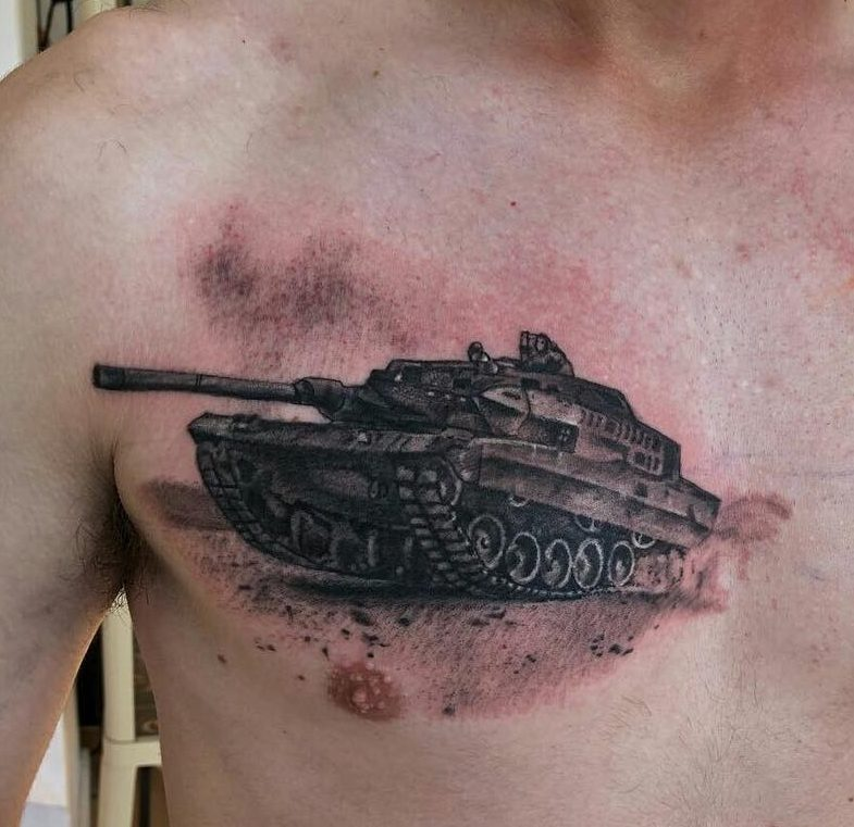 Military Tank Chest Tattoo