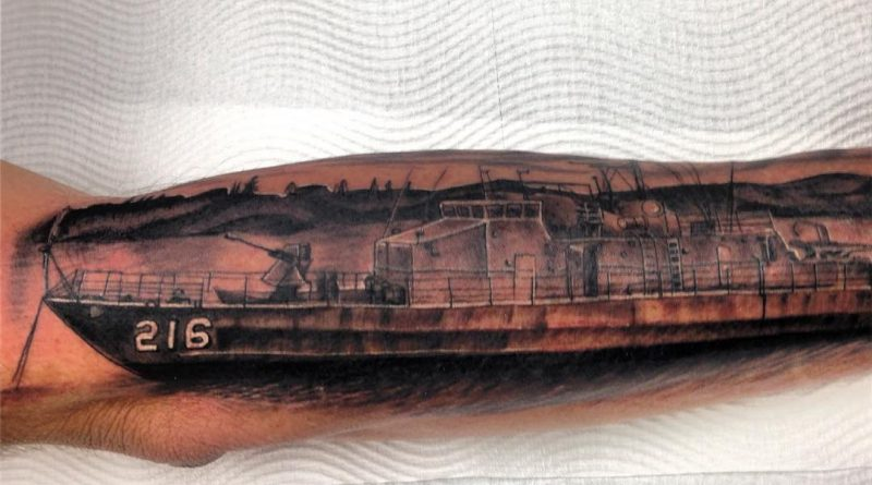 Navy Ship Arm Tattoo