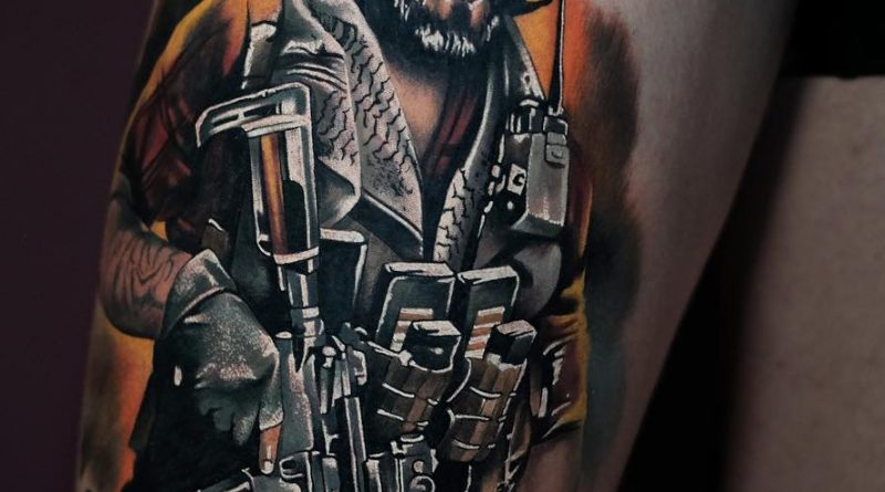 Recon Shooter Leg Tattoo