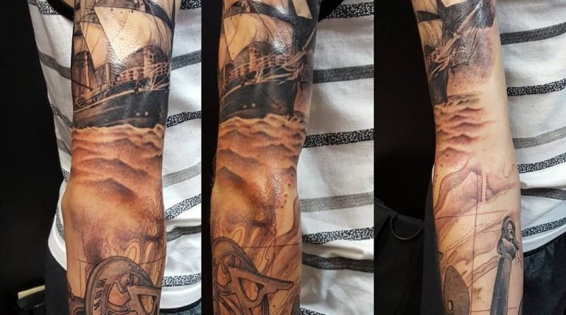 USN Full Sleeve Tattoo