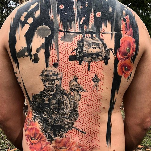 Military Chopper Back Tattoo