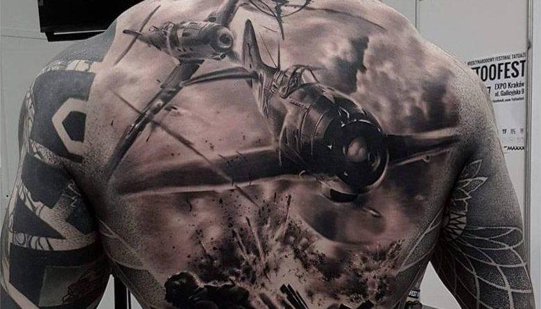War Scene Full Back Tattoo
